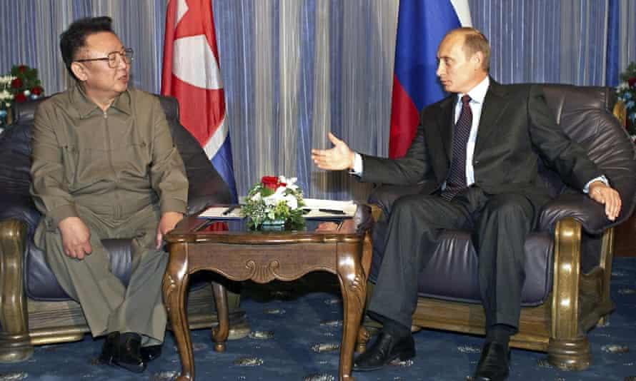 Russian president Vladimir Putin in talks with then North Korean leader Kim Jong-il during their meeting in Vladivostok in 2002.