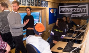 Royal fam … Prince Harry and Meghan Markle visit radio station Reprezent FM, in Brixton.