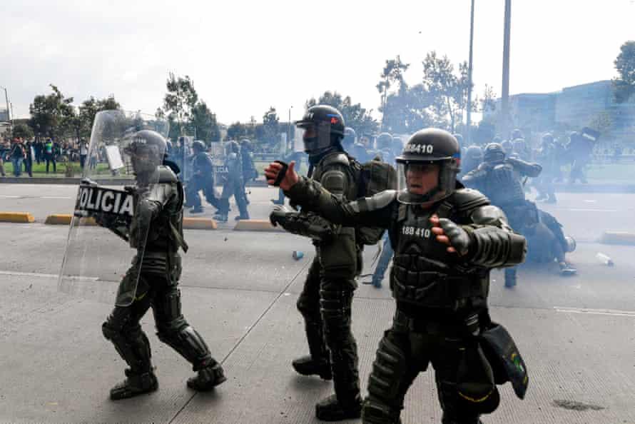 Riot police in Bogotá on Thursday.