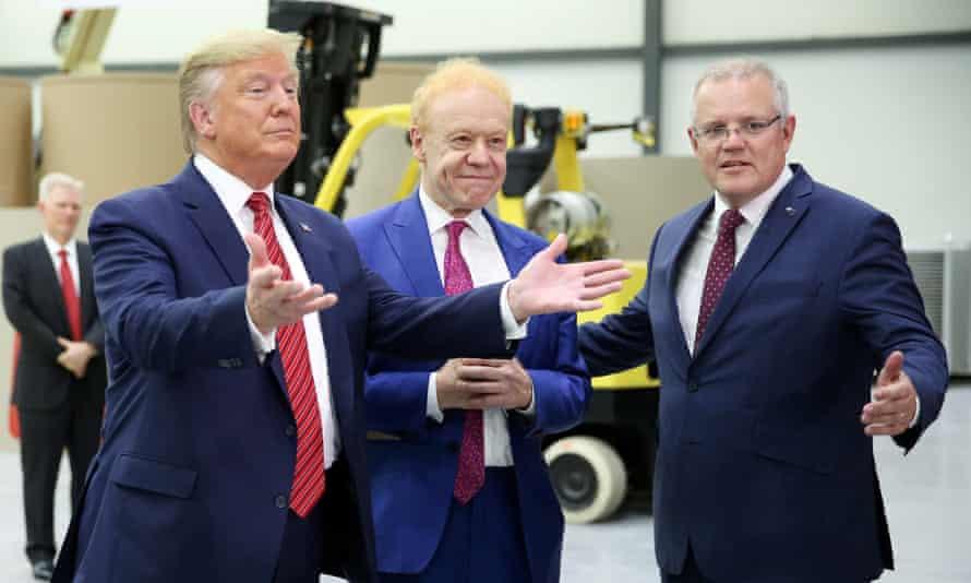 Donald Trump, Anthony Pratt (centre) and Scott Morrison at Pratt plant opening in Wapakoneta, Ohio.