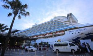 O navio Ruby Princess atracou no Terminal de Passageiros Overseas em Sydney, em 19 de março de 2020