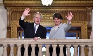 Boris Johnson and Arlene Foster at Stormont in Northern Ireland