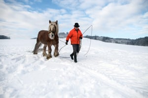Man and horse in Husten near Gummersbach, Germany