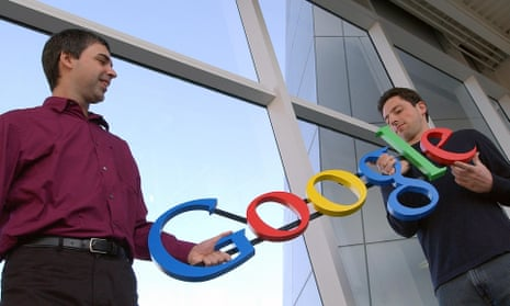 Google co-founders Larry Page, left, and Sergey Brin at their company's headquarters in Mountain View, California in 2004.