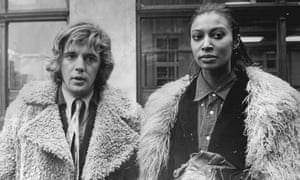 Film producer Iain Quarrier with his girlfriend, model Donyale Luna, after the court case, 12 November 1968.