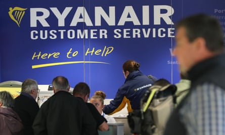 The Ryanair customer service desk at Dublin Airport.