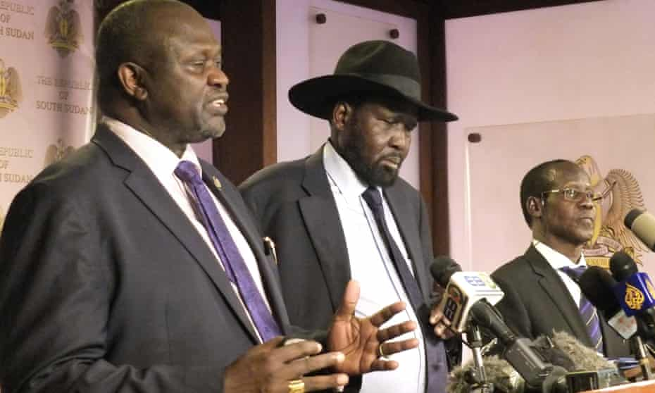 Riek Machar and Salva Kiir at a press conference last week