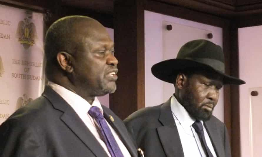 Vice-president, Riek Machar, left. and President Salva Kiir fought a bloody 20-month war which ended last year in a fragile peace accord.