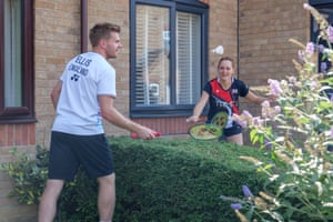 Badminton England mixed doubles players Marcus Ellis and Lauren Smith training at their home in August 2020.