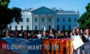 US-CLIMATE-PROTEST-us-environment-climate-change-strikeA group of teenage protesters, part of 'Fridays for Future' against climate change, gather in front of the White House last month.