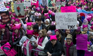 Protesters in pussyhats take part in the Women's March in Washington