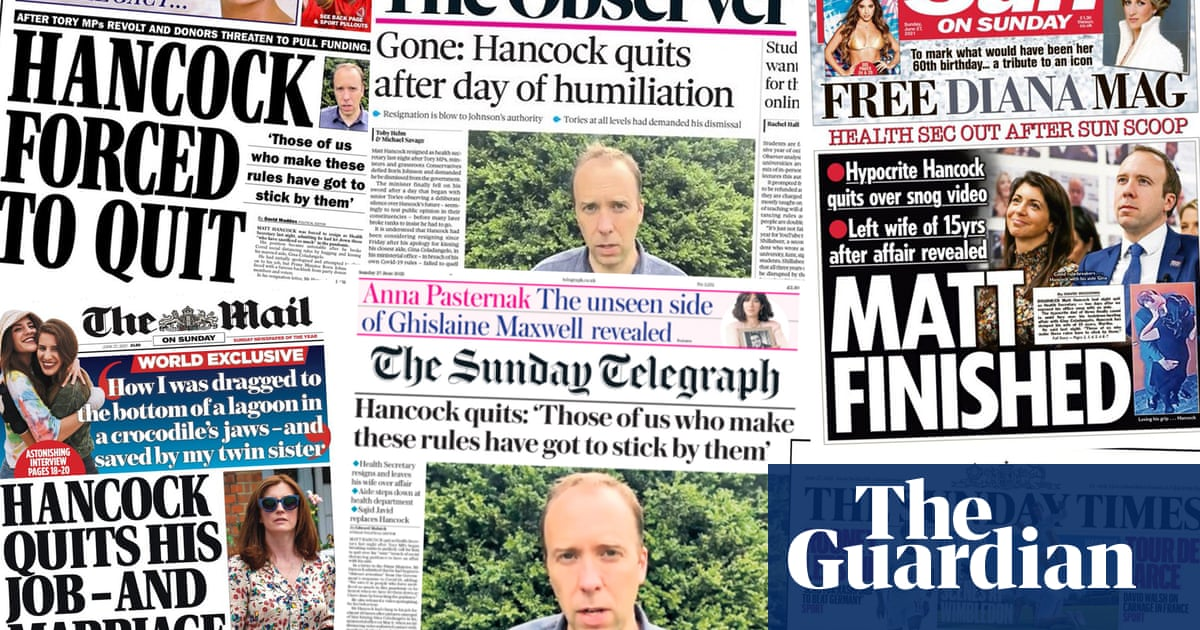 'Matt finished': Hancock given final humiliation on front of UK papers