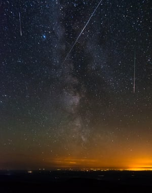 The Perseid meteor shower, as seen from the Merrick in New Galloway, Scotland, on August 2015