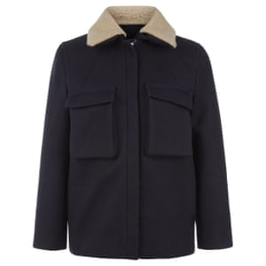 Navy jacket with shearling collar
