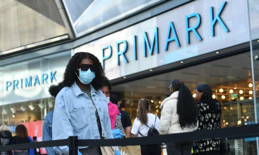 Shoppers in line at Primark in Birmingham