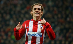 Antoine Griezmann celebrates scoring the second goal.