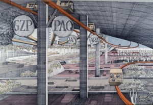 Paul Rudolph's plan for the Lower Manhattan Expressway, with accompanying monorail, from the documentary Citizen Jane.