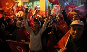 Erdogan supporters celebrate in Istanbul.