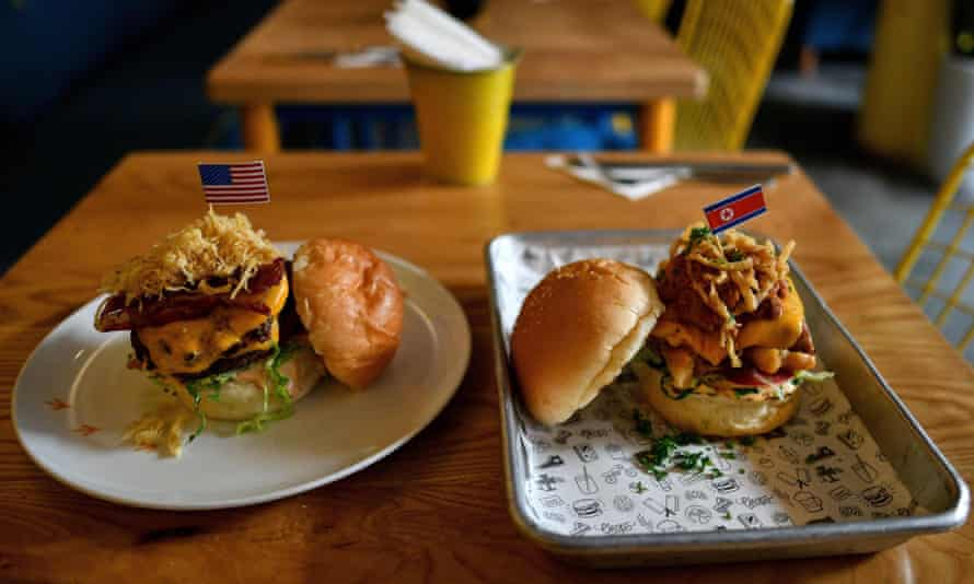 The 'Durty Donald' (left) and a 'Kim Jong Yum' burger.