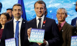 Emmanuel Macron attends the Tech for Planet event in Paris, France Monday.