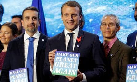 Emmanuel Macron attends the Tech for Planet event in Paris, France Monday.