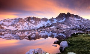 """""""Silver Pass and Chief Lake along the John Muir Trail - Sierra Nevada, CA<br>BCTKG0 Silver Pass and Chief Lake along the John Muir Trail - Sierra Nevada, CAsand to snow"""""""