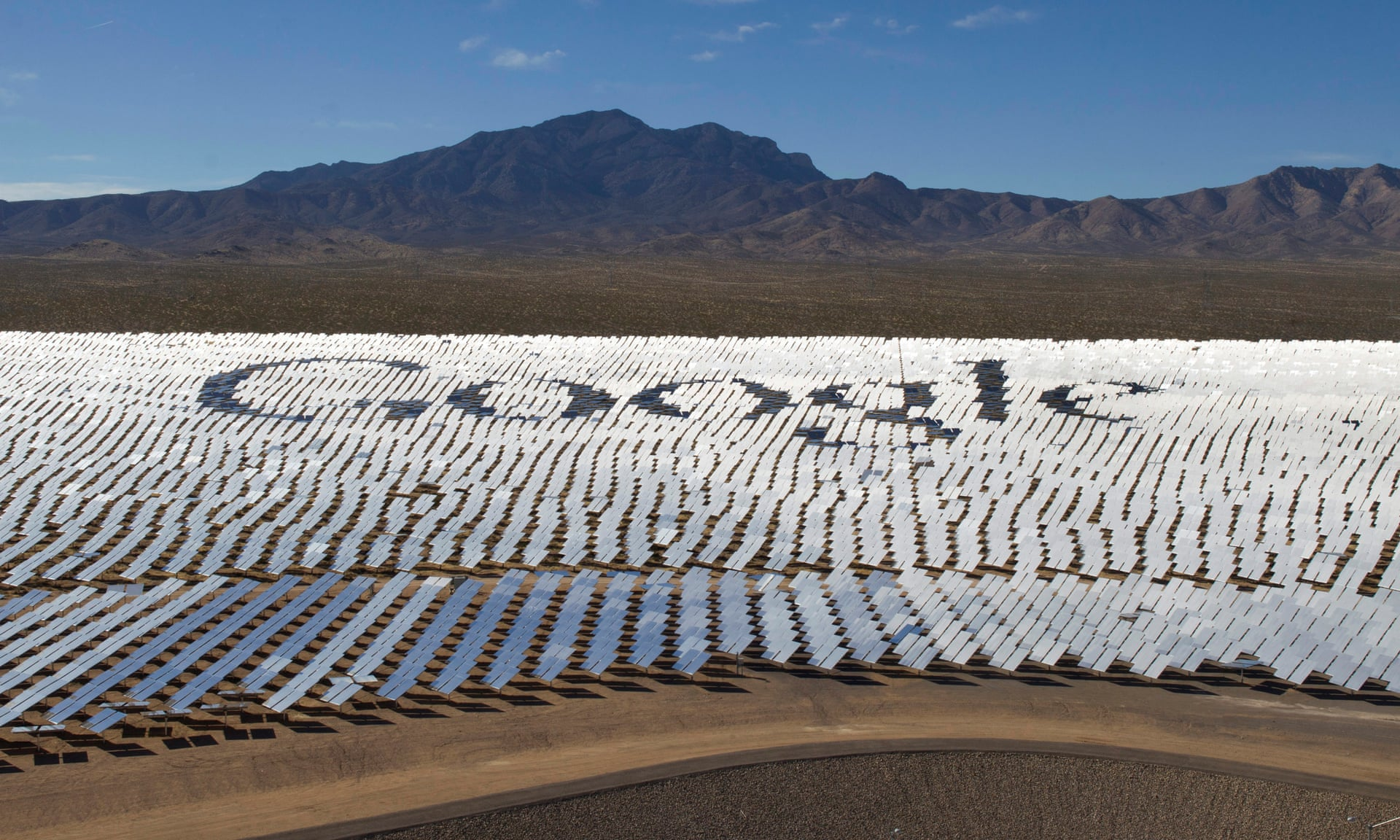 The Google logo is spelled out in heliostats (mirrors that reflect sunlight) at the Ivanpah solar electric generating system in the Mojave Desert near the California-Nevada border. Photograph: Steve Marcus/Reuters