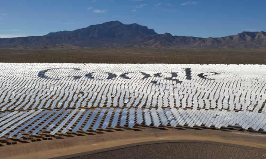 The Google logo is spelled out in heliostats (mirrors that reflect sunlight) at the Ivanpah solar electric generating system in the Mojave Desert near the California-Nevada border.