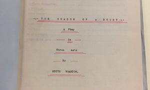 Title page of Edith Wharton's typescript draft of The Shadow of a Doubt, 1901.