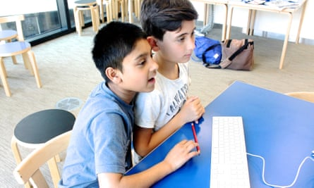 Primary pupils discuss stories in an Education Centre workshop
