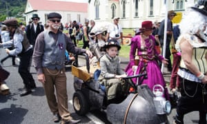 Steampunk fans take part in a parade in the New Zealand town of Oamaru.