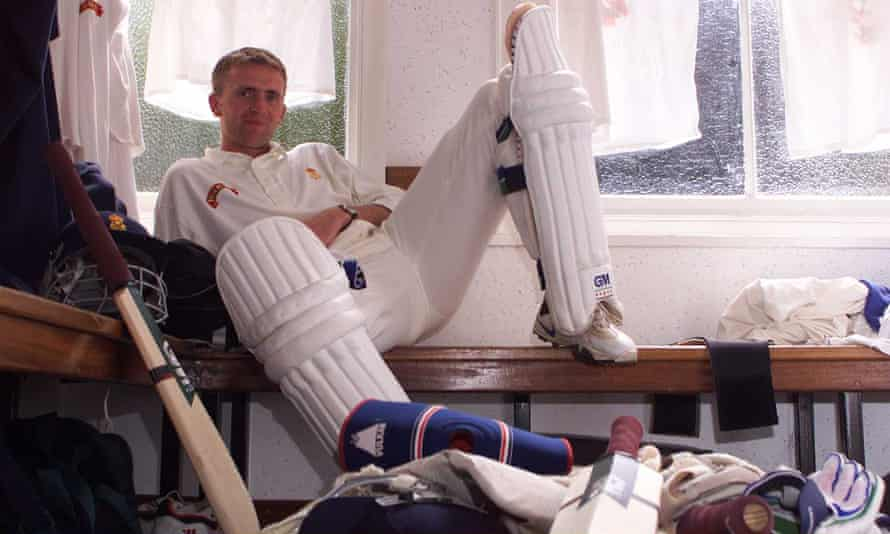 Dominic Cork waiting for his turn at the crease in the Derbyshire dressing room during their game against Leicestershire at Queens Park, Chesterfield, in 1998.