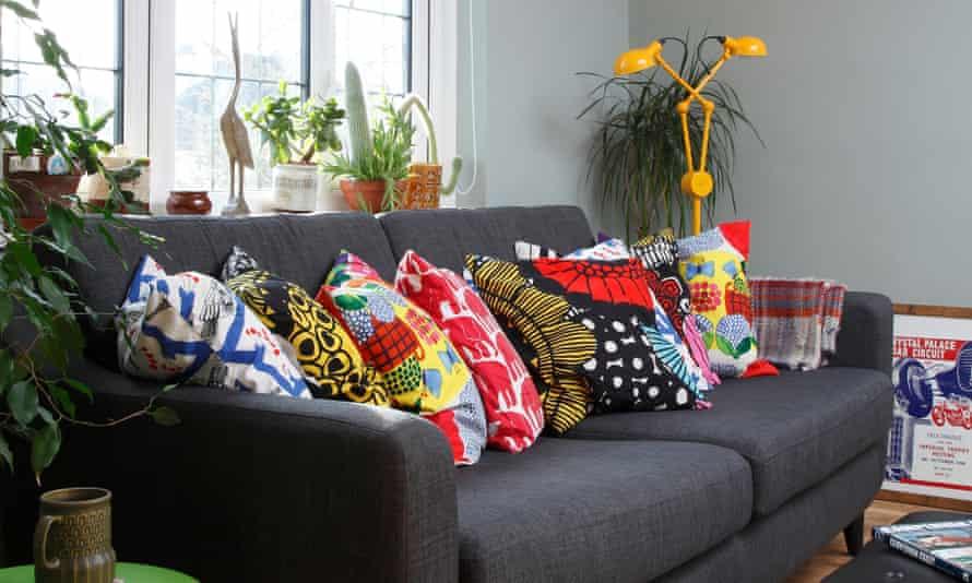 An array of Marimekko cushions in the living room.