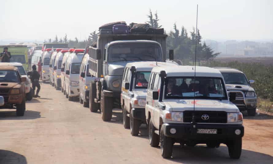 A convoy of Syrian Red Crescent ambulances