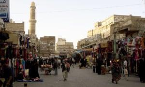 Un marché dans la capitale du Yémen, Sanaa, mars 2008