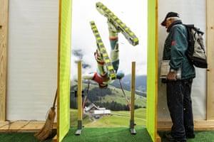 Swiss grass skier Stefan Portmann in action during a free practice