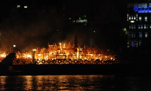 Wooden sculpture on fire