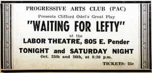 Publicity for Clifford Odets' Waiting for Lefty