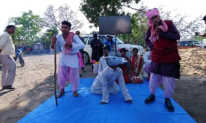 Activists use street theatre to make citizens aware that authorities have ended animal sacrifice.