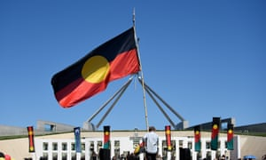 Aboriginal flags as Parliament House in Canberra