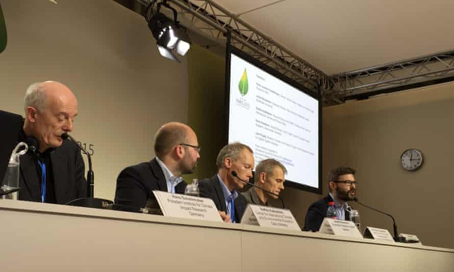 Scientists deliver a press conference on Friday 11 December at Paris climate talks