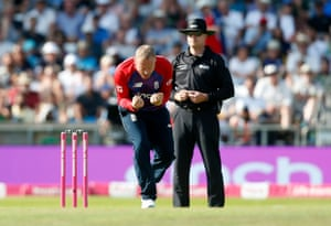 Matt Parkinson celebrates taking the wicket of Azam Khan.