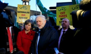 Jeremy Corbyn and shadow transport secretary Lilian Greenwood attend a protest over rail fares outside King's Cross station in central London.