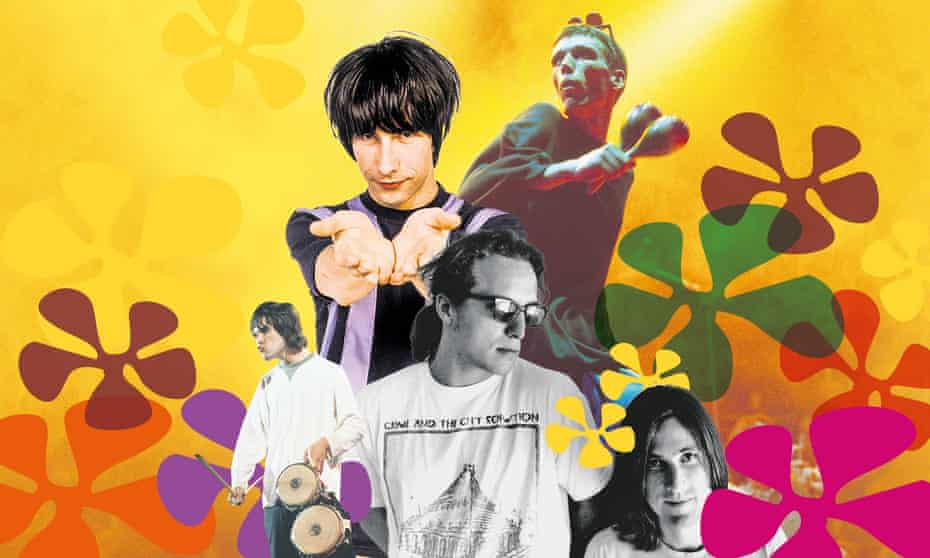 Flowered up … (clockwise from left) Ian Brown from the Stone Roses, Bobby Gillespie of Primal Scream, Bez of the Happy Mondays and the Beloved.
