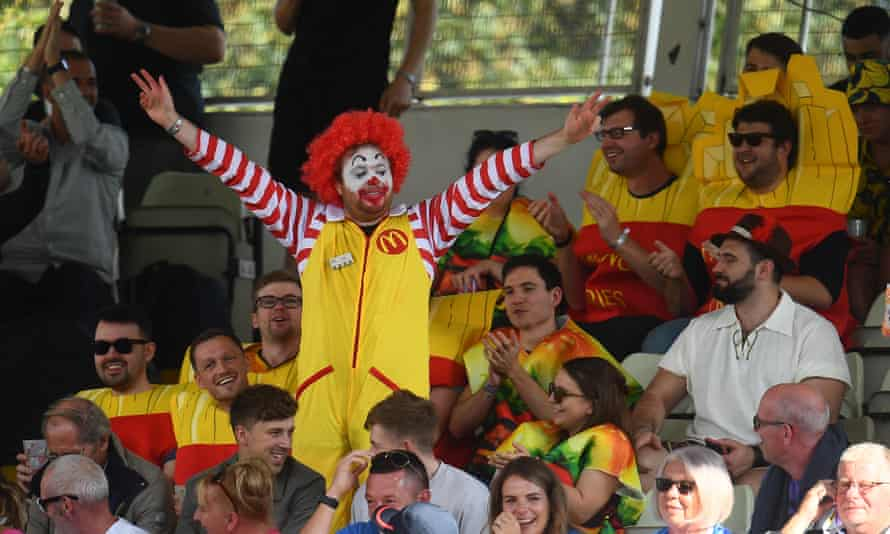 A fan dressed as Ronald McDonald at T20 Finals Day