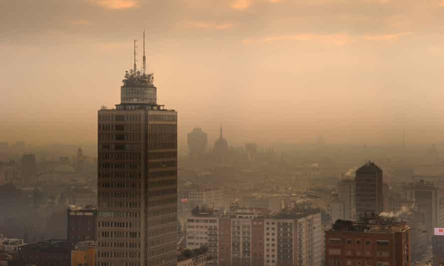 Smog over Milan, Italy