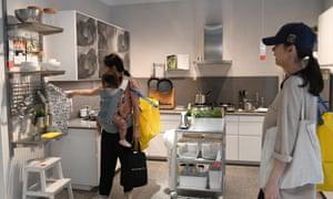 Customers look around the new Ikea showroom in Hyderabad