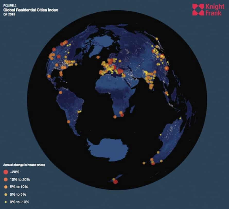 Graphic depicting global rises in urban property markets.