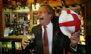 UK Independence Party leader Nigel Farage celebrates St George's Day with a pint in Ramsgate, England.