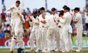 England's captain Joe Root and Jack Leach celebrates the dismissal of Sri Lanka's Kaushal Silva.